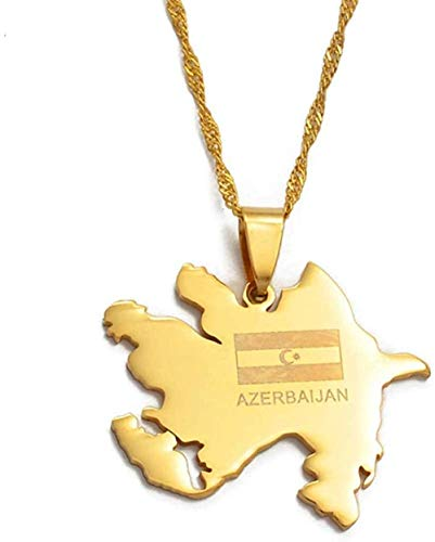 ZPPYMXGZ Co.,ltd Necklace Fashion Gold Color Azerbaijan Map and Flag Pendant Necklaces Azerbaijan of Cards Jewelry Gifts