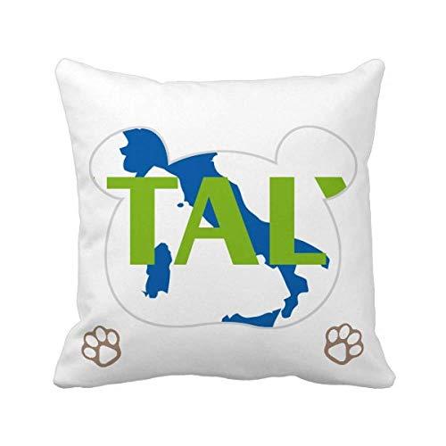 OFFbb-USA Mapa Italia Europa Barcelona Bear Throw almohada cuadrado funda de almohada
