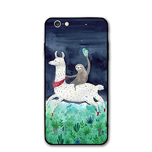 Happy Index Watercolor Sloth Riding Llama iPhone 6 / 6S Case Soft TPU Shell Full Protective Bumper Anti-Scratch Case Enhanced Grip Protective Defender Cover for Apple iPhone 6/6S