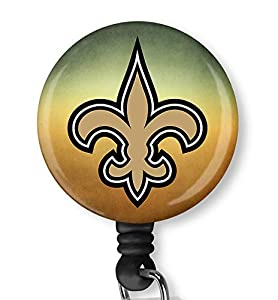New Orleans Saints Retractable ID Card Badge Holder with Alligator Clip Name Nurse Decorative Badge Reel Clip on Card Holders