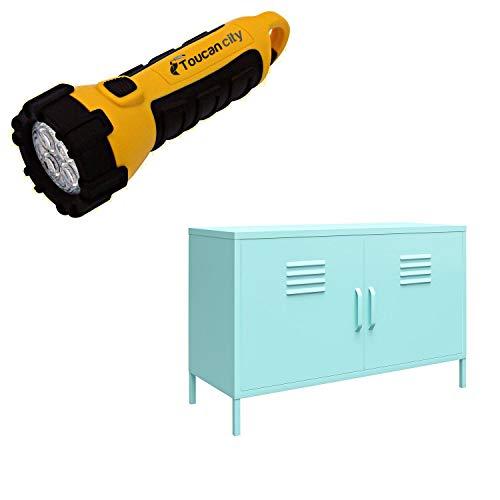 Toucan City LED Flashlight and Novogratz Cache Mint 2-Door Metal Locker Accent Cabinet 401281