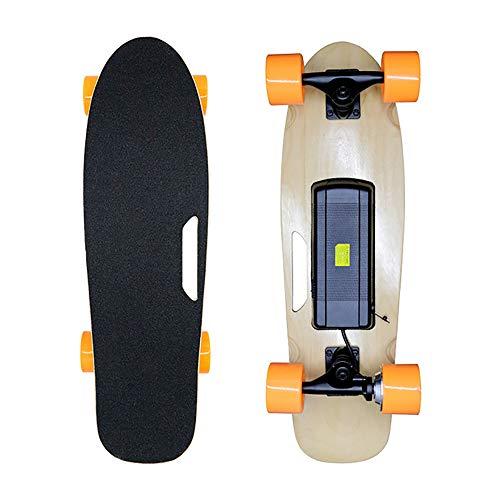 XLY 27 '' Longboard patín eléctrico, 15 km/h de Velocidad máxima, 10 KM Range, 250W Hub Motors 4 Ruedas de Skate, 7 Capas de Arce Cubierta Longboard con Control Remoto