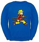 Hariz – Sudadera infantil de bombero, escalera de bomberos, divertida, incluye tarjeta de regalo azul real 10 años