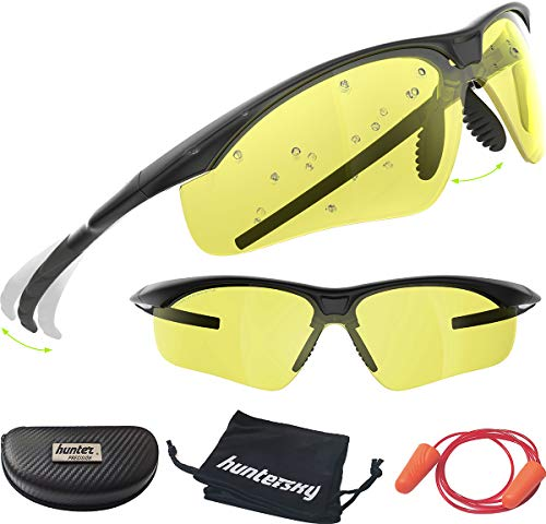 HUNTERSKY Tactical Shooting Safety Glasses Military Ballistic Impact Resistance, Yellow Lens, Yellow Glasses for Sports, Hunting, Archery, Cycling, Driving and Outdoors