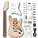 Leo Jaymz DIY ST Style Electric Guitar Kits with Mahogany Body and Maple Neck - Rosewood Fingerboard and All Components Included (ST)