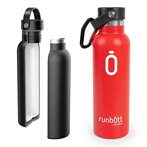 PracticDomus Runbott Bottiglia Termica da 600 ml in Acciaio Inox Senza BPA con Rivestimento Interno in Ceramica e Doppio Strato con Vuoto. Senza Sapore Metallico. Include Moschettone. Colore Rosso