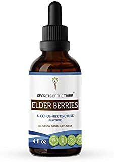 Secrets of The Tribe Elder Berries Alcohol-Free Tincture (Glycerite) 678 mg Organic Elder Berries (Sambucus Nigra) Dried B...