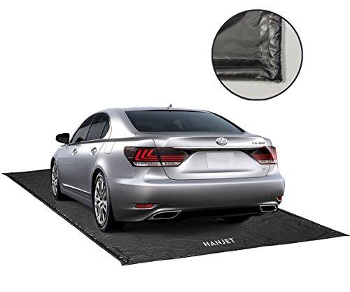 Hanjet Garage Floor Mat for Car Containment Mat for Snow, Mud, Rain - 7Feet 9Inches x 18Feet, Black