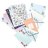 36 Piezas Papel para Escribir, Juego de Papel de Cartas con Sobre, Sobres de Papel de Escritura con Diseño Floral, 24 Hojas de Papel de Papelería + 12 Sobres, para Invitaciones, Cartas, Tarjetas