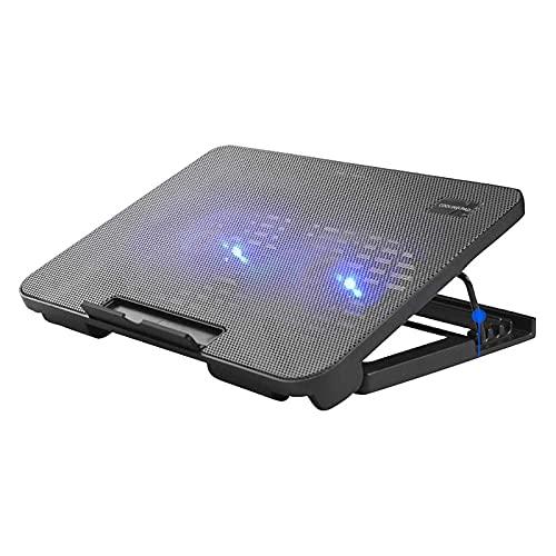 Haoran Base De Refrigeración para Portátil De 12 A 18 Pulgadas, Velocidad del Viento Ajustable,Bisel Antideslizante,Doble USB,5 Ajustes De Altura,Enfriador De Notebookblack