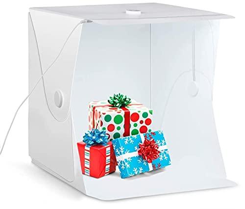 Caja de Luz Fotografía 40x40x40cm, Estudio Fotográfico Plegable 6500K, 90 Ra+, Photo Studio, con Tira de LED + 4 Fondos (Blanco / Negro / Azul / Verde)