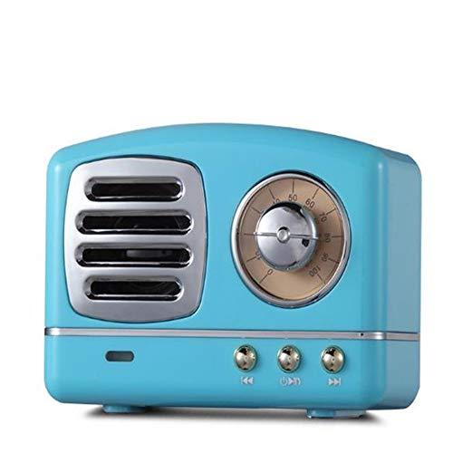ZNMJW Altavoz Bluetooth Mini Retro Portátil Teléfono Subwoofer U Disco Audio Play Manos Libres Llamada Azul