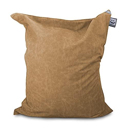 HAPPERS Puff Gigante XXL Tejido Orgánico COTOTEC Tierra con Relleno para Interior. Cojin Gigante Muy cómodo y versátil Puede ser sustituto del sofá o también de la Cama
