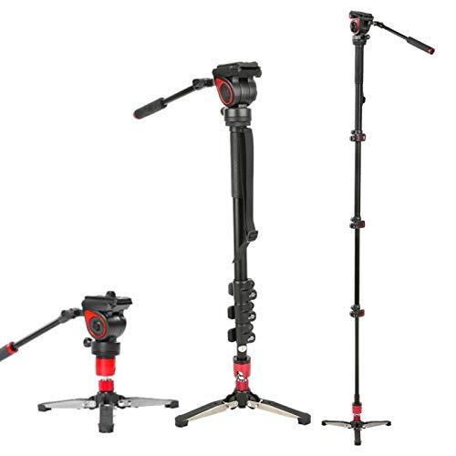 Monopie con cámara réflex Digital con rótula de Bola fluida Monopie Disparo Inclinado de ángulo Alto, para cámara sin Espejo/DSLR/videocámara/estabilizador