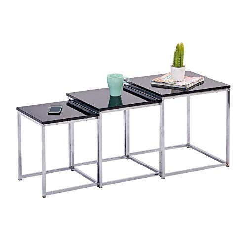 HomeSailing Nest of Tables 3 Nesting Tables for Living Room Wooden High Gloss Table Top&Chrome Legs Space-Saving Side Table End Table Coffee Table (Black)