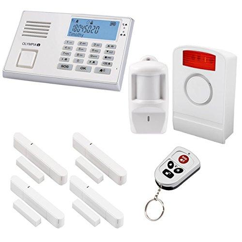 Olympia Protect 9061 Weiß Smart mit App Superset Funk-Alarmanlage ✓ GSM ✓ Kabellos ✓ Fenster & Tür | Einbruchmeldeanlage mit Bewegungsmelder für Haus & Wohnung | Drahtlos Alarmsystem, Hausalarm mit Fernbedienung