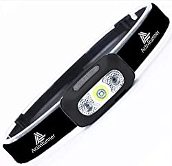ActivRunner USB wiederaufladbare Scheinwerfer für Laufsport, Kopflampe, Lauflicht, Stirnlampe Led, Scheinwerfer. Wasserdicht, Bewegungssensor, für Laufen, Wandern, Joggen, Camping.