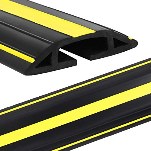 Eapele 4 ft Cable Protector Cord Cover for Floor,Heavy Duty PVC Duct Easy to Unroll,Prevent Trip Hazard for Home Office or Outdoor Settings