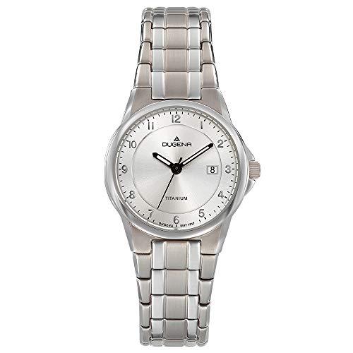 DUGENA Damen-Armbanduhr 4460870 Gent, Quarz, silbernes Zifferblatt, Titangehäuse, Mineralglas, Titanarmband, Drückerfaltschließe, 5 bar