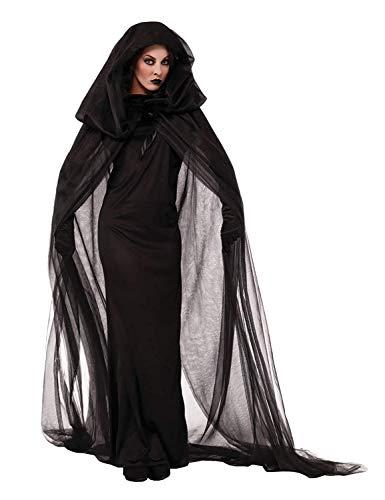 abito donna halloween LATH.PIN Vestito Vampiro Halloween Costume da Strega Vestiti con Cappello Donna Abito Cosplay Carnevale Manica Lunga Nero (M