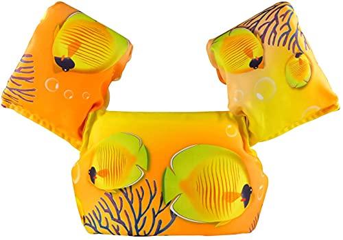 Chaleco de natación para niños con alas de brazo adecuado para niños de 10 a 26 kg (pez amarillo)