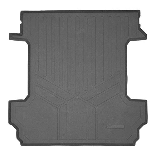 """SMARTLINER Truck Rugged Rubber Bed Mat Liner for 2019-2021 Silverado/GMC Sierra 1500 Only Fits Crew Cab with 5'8"""" Short Bed, Black"""