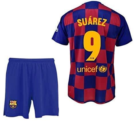 Conjunto Camiseta y pantalón 1ª equipación FC. Barcelona 2019-20 - Replica Oficial con Licencia - Dorsal 9 Suarez - 4 años
