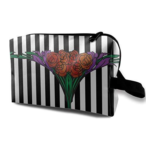 Rose Love Sweet Nothing Black_850 - Neceser portátil de maquillaje, bolsa organizadora de viaje para mujer y niña, 25,4 x 12,7 x 15,7 cm