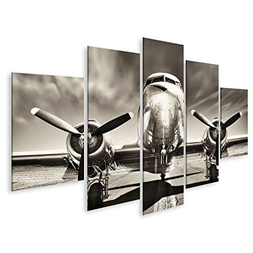 bilderfelix® Bild auf Leinwand Retro-Flugzeug Wandbild Poster Leinwandbild Rum
