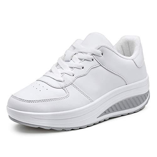 Mujer Cuero Zapatillas de Deporte con Plataforma de Cuña Aptitud Gimnasio Zapatos de Baile para Caminar con Cordones 4 CM Felpa Blanco 40 EU