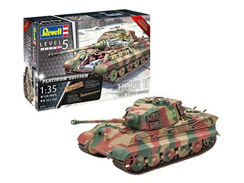 Revell 03275 Königstiger Tiger II AUSF. B - Full Interior, Panzer in der Platinum Edition, inkl. Fotoätzteile, Sonderauflage, Größe 1:35/29,3 cm, Level 5 für Experten 14 Modellbausatz