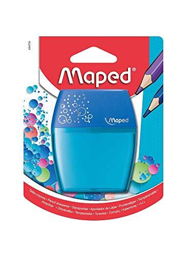 Maped - Taille-crayon SHAKER - 2 Trous - Taille-crayon avec Réservoir Transparent - réserve Grande Capacité - Coloris Bleu