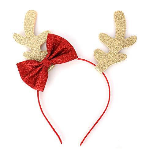 Olen Christmas Deer Antler Headband with Bow-Knot Reindeer Antler Headband for Children and Adult Gold