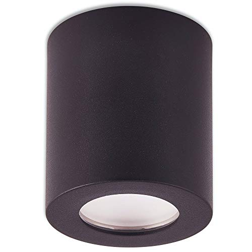 Aufbaurahmen schwarz IP44 rund GU10 für Aufbauleuchte – Aufbaustrahler für Bad und Außenbereich 95x80mm – für LED und Halogen Leuchtmittel – Einbaustrahler, Rahmen