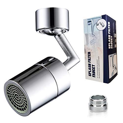 Grifo universal – Grifo universal filtro de salpicaduras antisalpicaduras, espuma enriquecida con oxígeno filtro de malla, cabezal giratorio 720° Aireador pulverizador filtro JAANY