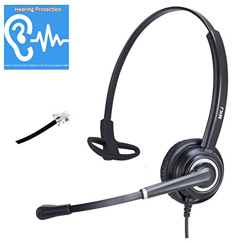 Telephone Headset for Landline Phones with RJ9 Jack Call Center Phone Headset with Microphone Noise Cancelling Compatible with Panasonic KX-HDV130 Grandstream Sangoma Snom Yealink T48S etc IP Phones