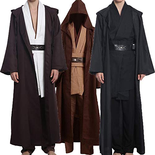 Wecos Adult Halloween Jedi Costume Tunic Robe Outfit Three Versions, Black Full Set, Large