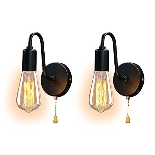 ANKBOY Vintage Lámpara de Pared Interior con Interruptor, 2Pcs Apliques de Pared con Interruptor de Cadena E27 Luz de Pared Retro Iluminación de Pared para Dormitorio, Salón, Comedor, Balcón, Loft