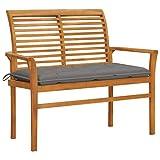 VidaXL - Panca da giardino in legno di teak massiccio con cuscino, panchina da terrazzo, panchina da giardino, mobile da esterno, 112 cm, colore: grigio