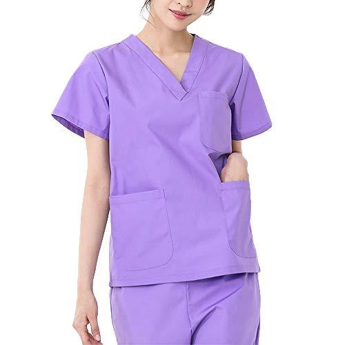Damen Kurzarm Uniformen Krankenschwester-Krankenpflege-Kleidung Medizinische Arbeitskleidung Laborkittel Laborkittel Zahnärztliche Arbeitskleidung Top & Hose mit V-Ausschnitt Mit 3 Taschen,Lila,XXXL
