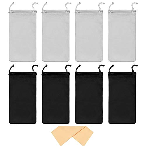 8 Pieces Sunglasses Pouches with Soft Slim Glasses Cleaning Cloth Portable Drawstring Microfiber Eyeglass Storage Bags Black Gray