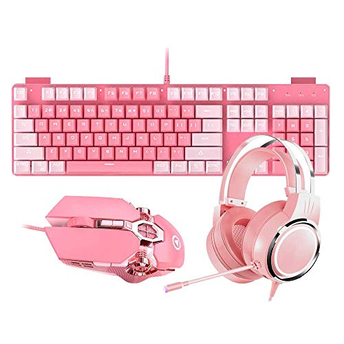 YFC Xjdmg Pink Girls Keyboard And Mouse Combo,Ergonomic Keyboard+headset+mouse,Backlit Wired Gaming Keyboards Set-104 key (Color : Keyboard+headset+mouse) (Color : Keyboard+headset+mouse)