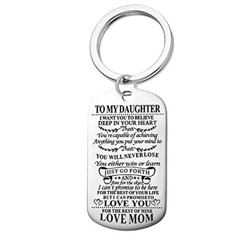 Adokiss Llavero de acero inoxidable, placa de identificación con grabado para mi hija. Love You MOM, llavero para bolso de mano, colgante de cadena, plata, 28 x 50 mm