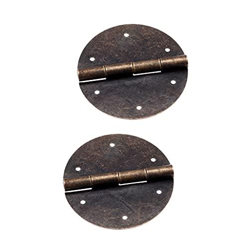 GANFANREN 2pcs bisagras Redondas de Bronce Antiguo 40mm * 60mm gabinete Caja...