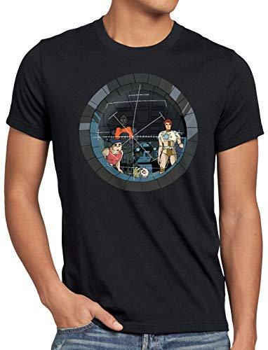 style3 Future Crew Herren T-Shirt Anime Raumschiff Captain, Größe:L, Farbe:Schwarz