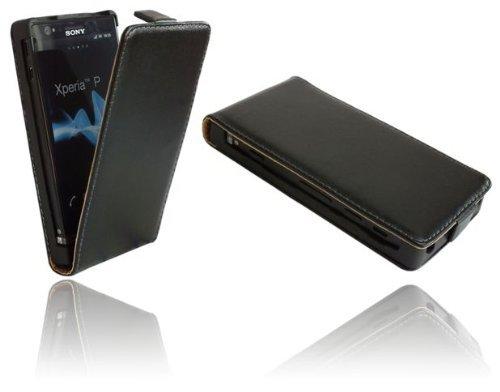 ENERGMiX Handytasche Flip Style kompatibel mit Sony Xperia P (LT22i) in Schwarz Klapptasche Hülle