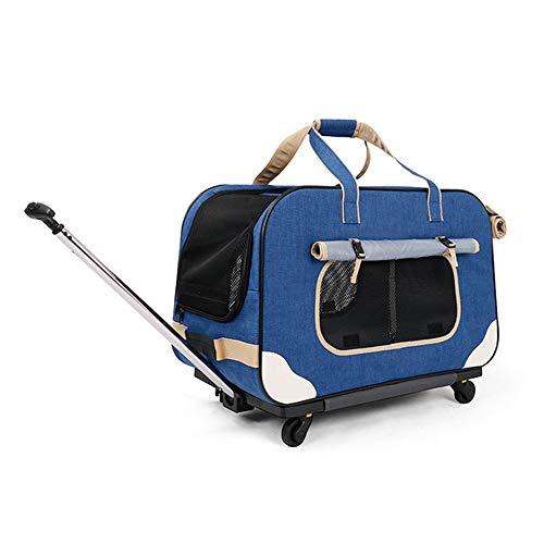 CHINSUKIDA 犬猫兼用キャリーカート キャスター付き 中型犬・大型犬対応 キャリー・コンテナ 17kgまで ペットキャリー 犬用キャリーバッグ 犬 鞄 手提げ 車載 カート 折り畳み可 省スペース ペット用 旅行 通院 散歩 アウトドア 緊急避難
