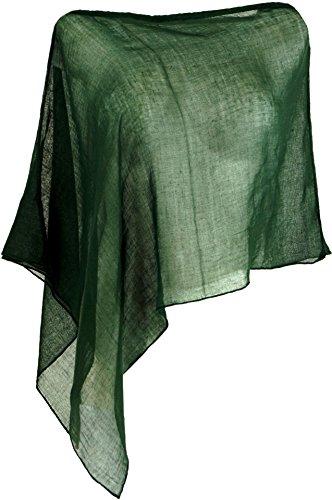 Guru-Shop Lagenlook Poncho, Leichter Poncho, Pixi Poncho, Damen, Grün, Baumwolle, Size:40, Jacken, Mäntel & Ponchos Alternative Bekleidung