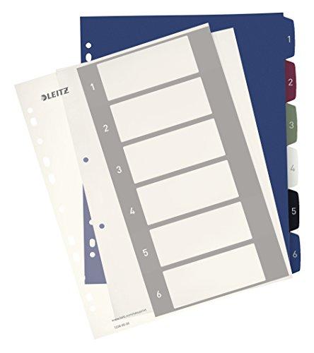 Leitz A4 Register, 1-6, 6 Trennblätter, Beschriftbares Deckblatt, Extrabreit, PP, Style, Mehrfarbig, 12360000