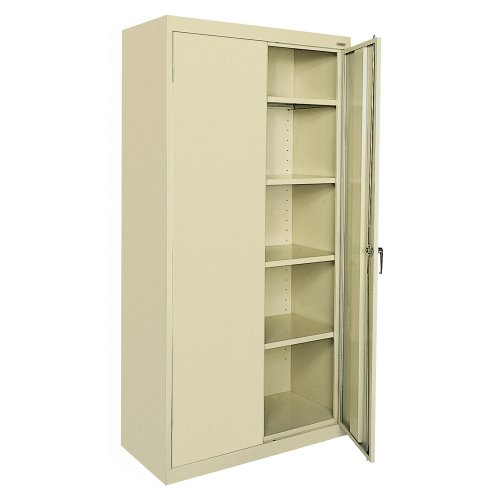 "Sandusky Lee CA41361872-07, Welded Steel Classic Storage Cabinet, 4 Adjustable Shelves, Locking Swing-Out Doors, 72"" Height x 36"" Width x 18"" Depth, Putty"